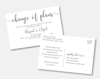 Tropical change the date card wedding postponement card beach wedding delay card palm wedding cancellation announcement instant download 119