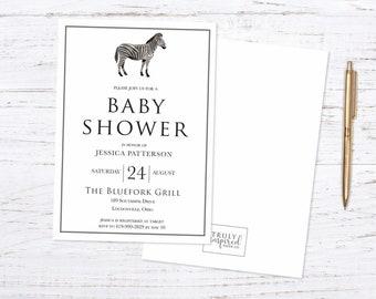 Baby Shower Invitation, Wild baby shower invite,  Animal baby shower invitation, Zebra baby shower