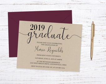 Graduation Announcement, Graduation Invitation,Kraft,Printed Graduation Announcement, Envelopes Included