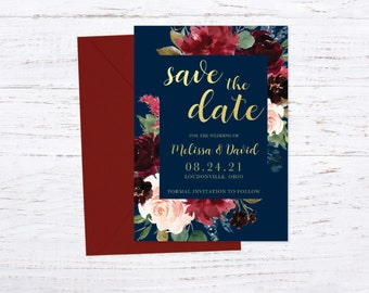 Save the Date Magnet OR Printed Card, Save our Date, Burgundy and Navy, Gold,  Floral, Envelope included