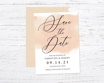 Save the Date Magnet OR Printed Card, Save our Date, Creamy Blush, Watercolor, Envelope included