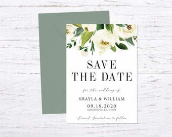 Save the Date Magnet OR Printed Card, Save our Date, White Floral, Envelope included