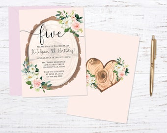 Floral Rustic Birthday Party Invitation