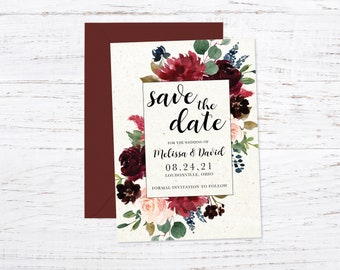 Save the Date Magnet OR Printed Card, Save our Date, Burgundy, Floral, Envelope included