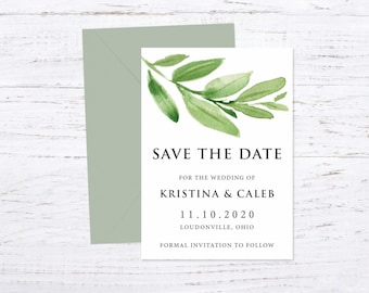 Save the Date Magnet OR Printed Card, Save our Date, Greenery, Envelope included