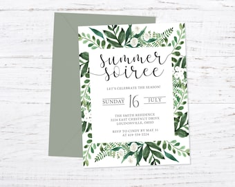 Summer Party Invitation, Printed with Envelopes