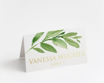 Printed Place Card, Gold Foil, Elegant greenery