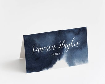 Printed Place Card, Sapphire Watercolor