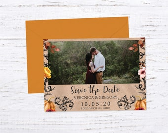 Save the Date Magnet OR Printed Card, Save our Date, Photo Save the Date, Rustic wedding, Fall wedding, Halloween wedding, pumpkin