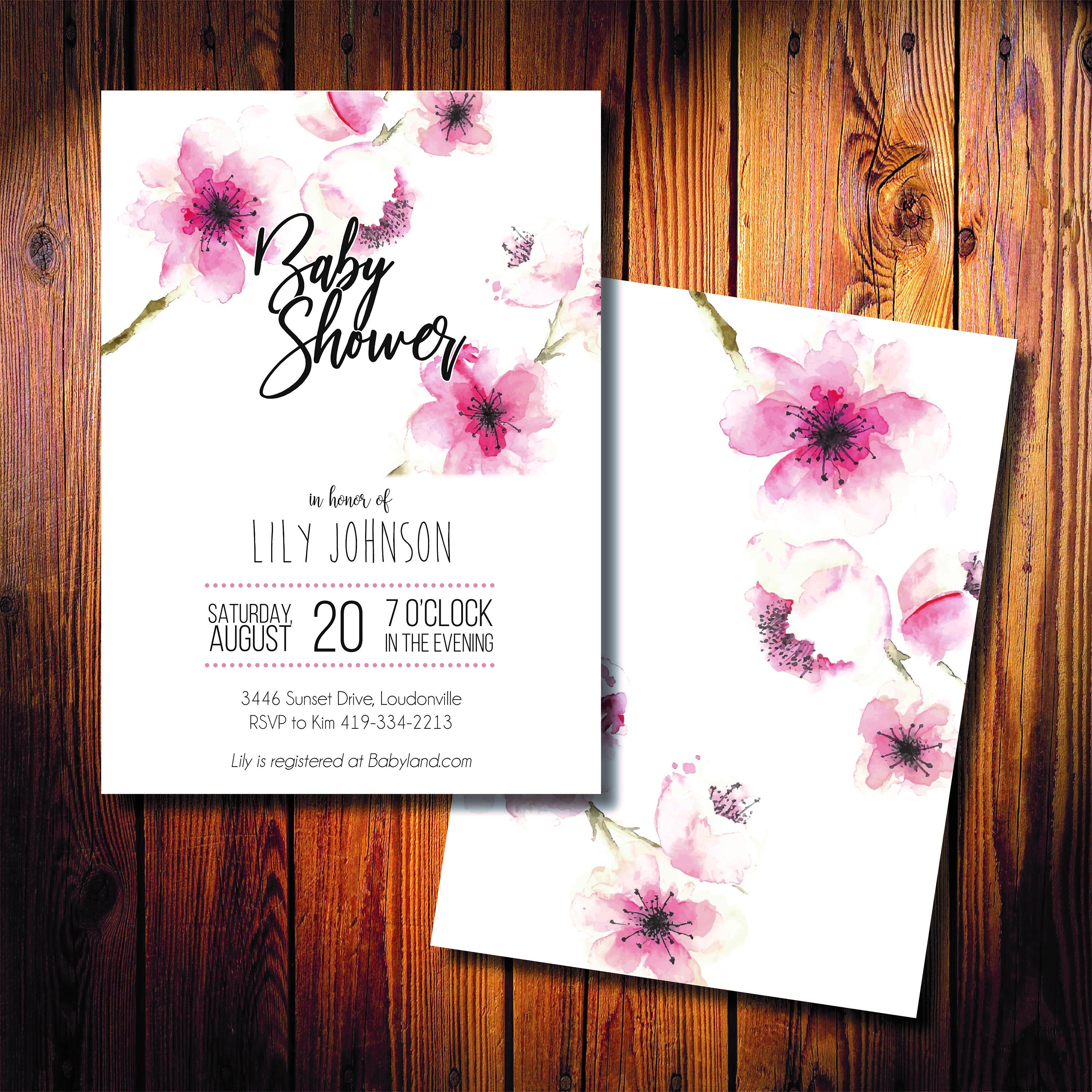 Cherry Blossoms Baby or Wedding Shower Printed Invitations Fast Shipping