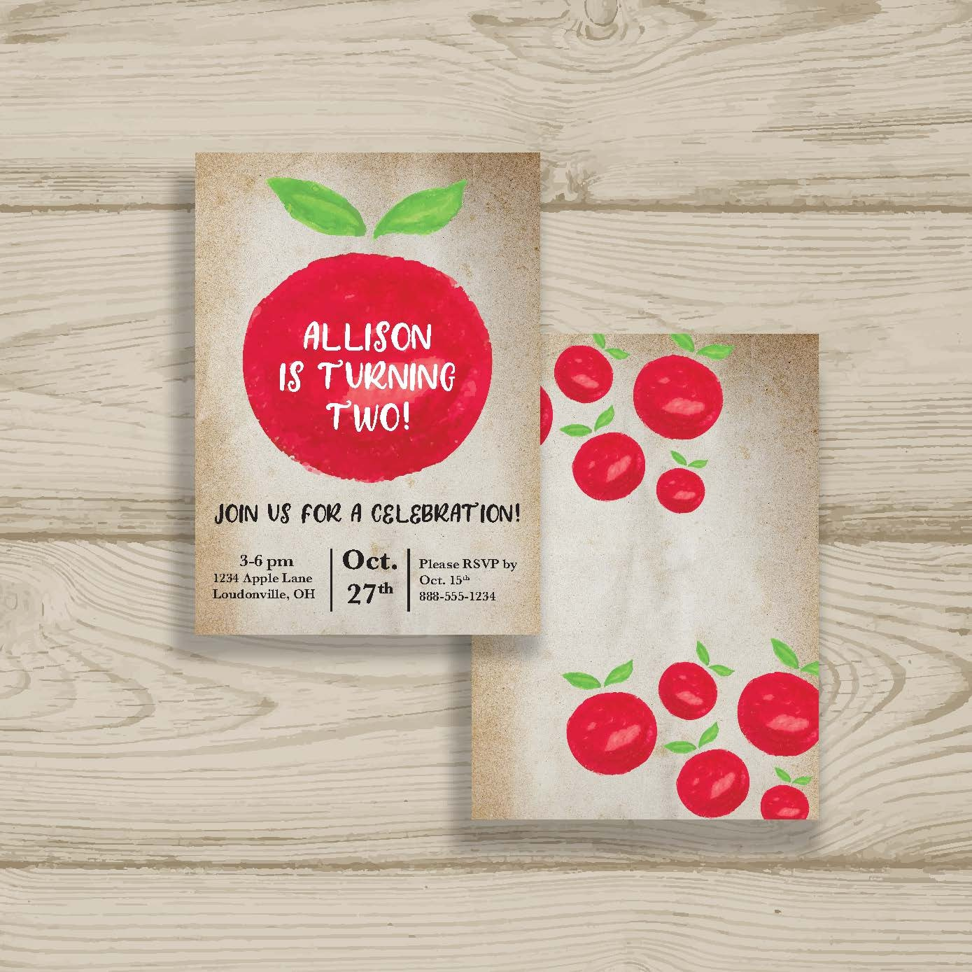 Fall Birthday Party Printed Invitations Fast Shipping