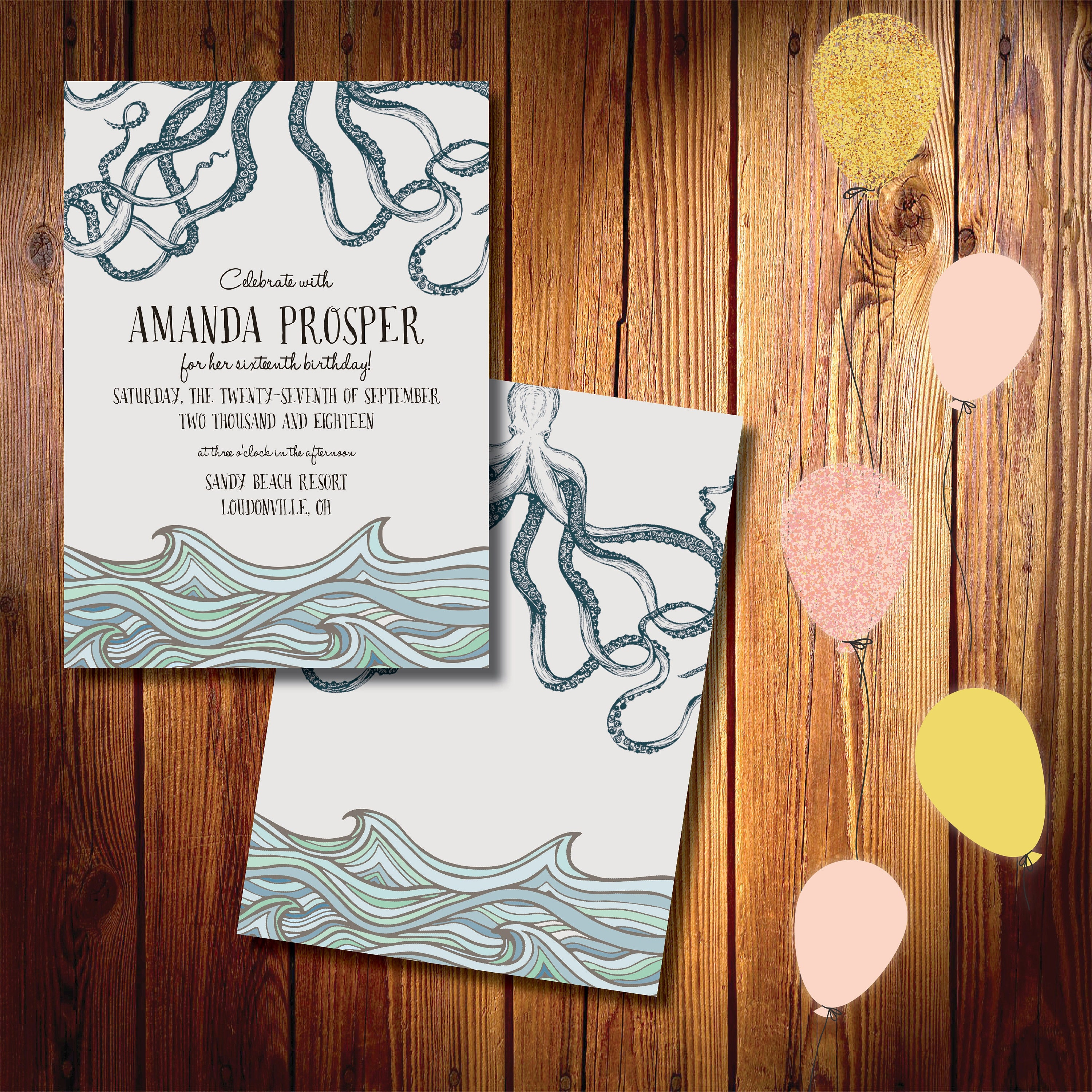fun at sea printed birthday invitations fast shipping