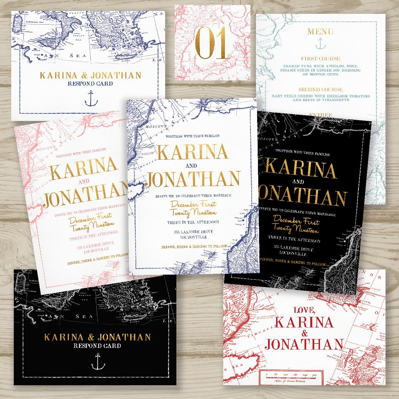 Map My Love Printed Wedding Invitation Suite Fast Shipping