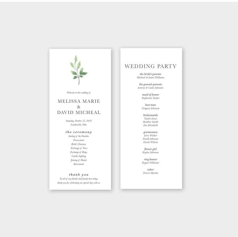 Ceremony Program Printed Wedding Program