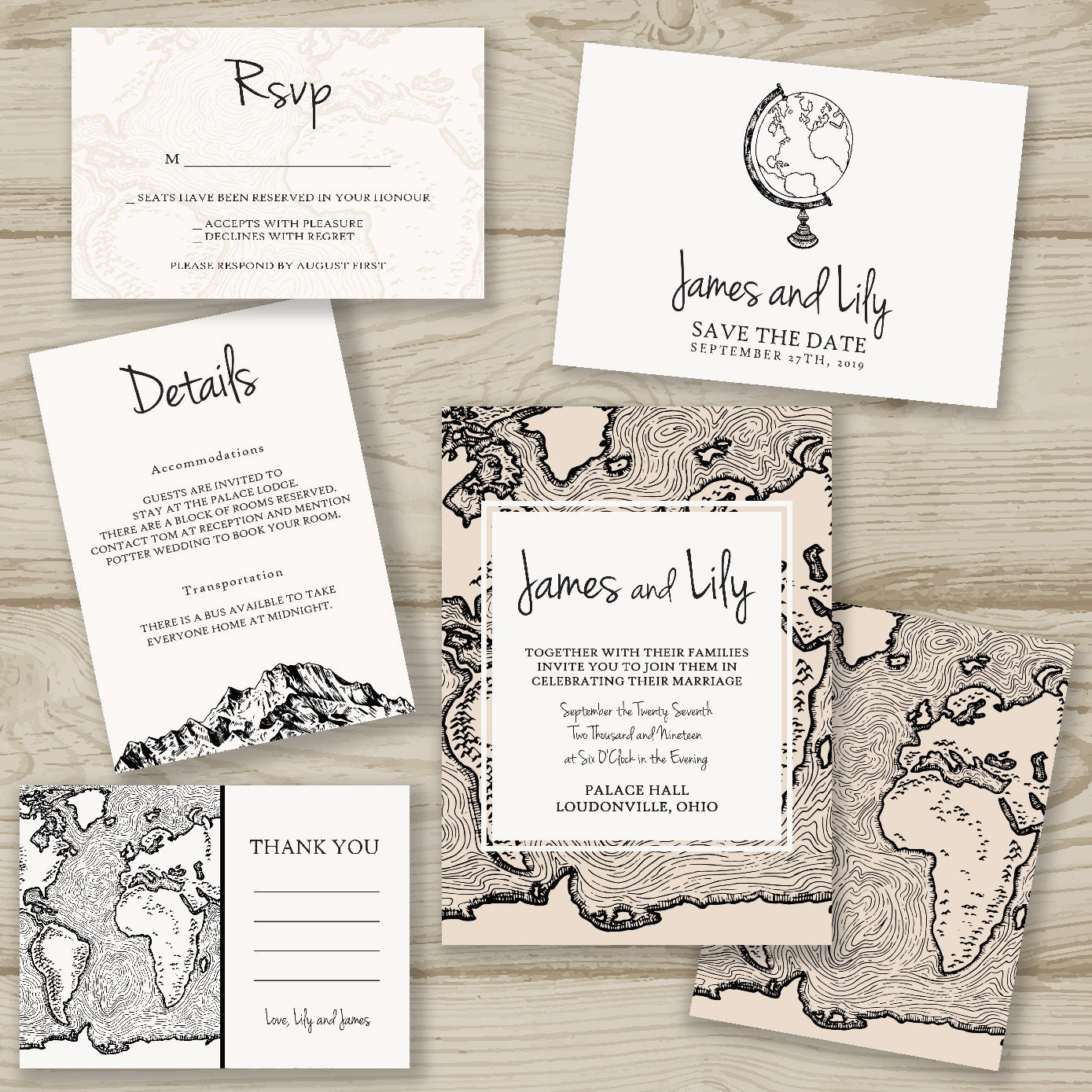 The World Is Ours Printed Wedding Invitation Fast Shipping