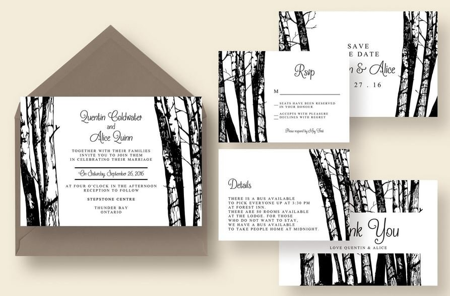 walk in the woods printed wedding invitation suite fast shipping