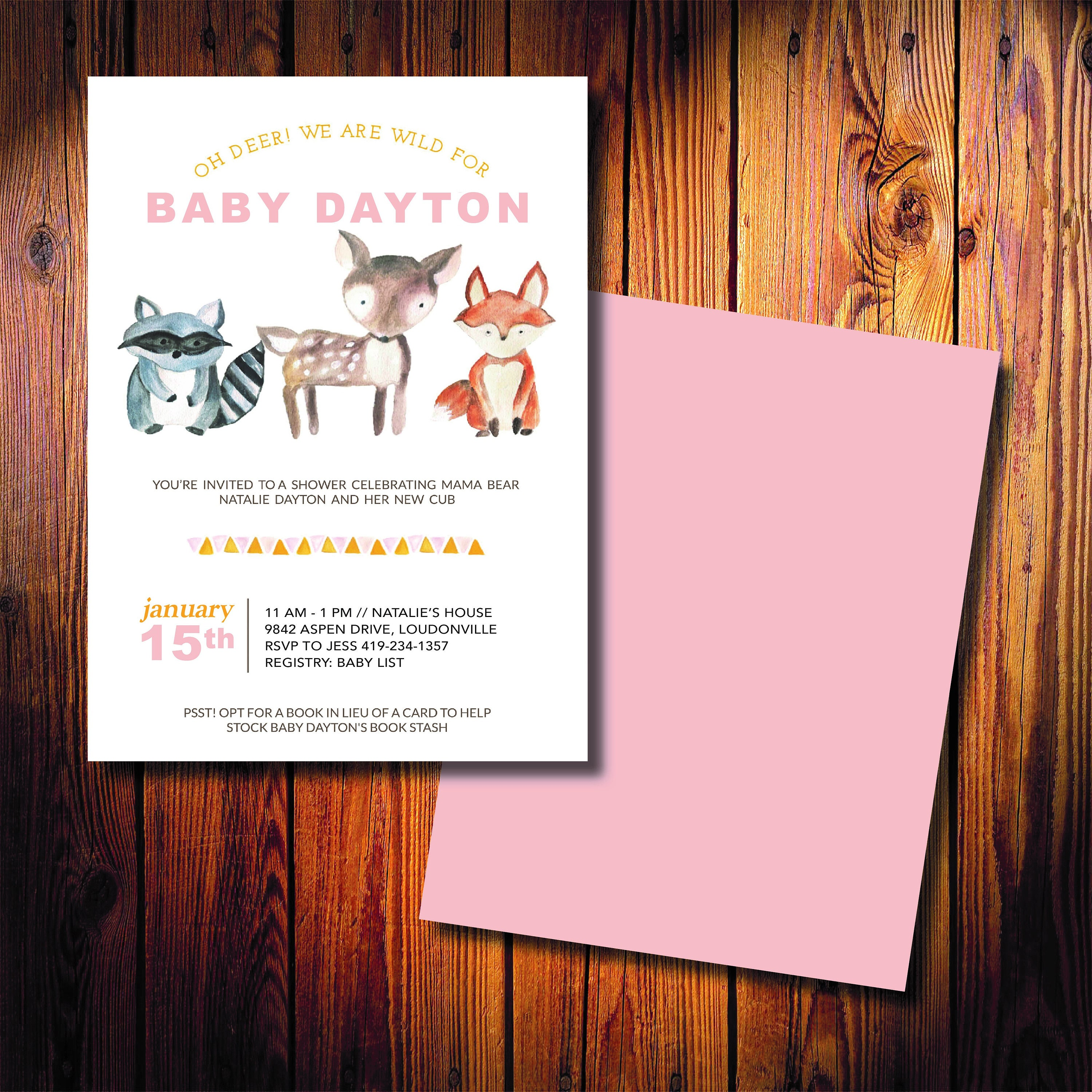 oh deer printed baby shower invitations fast shipping