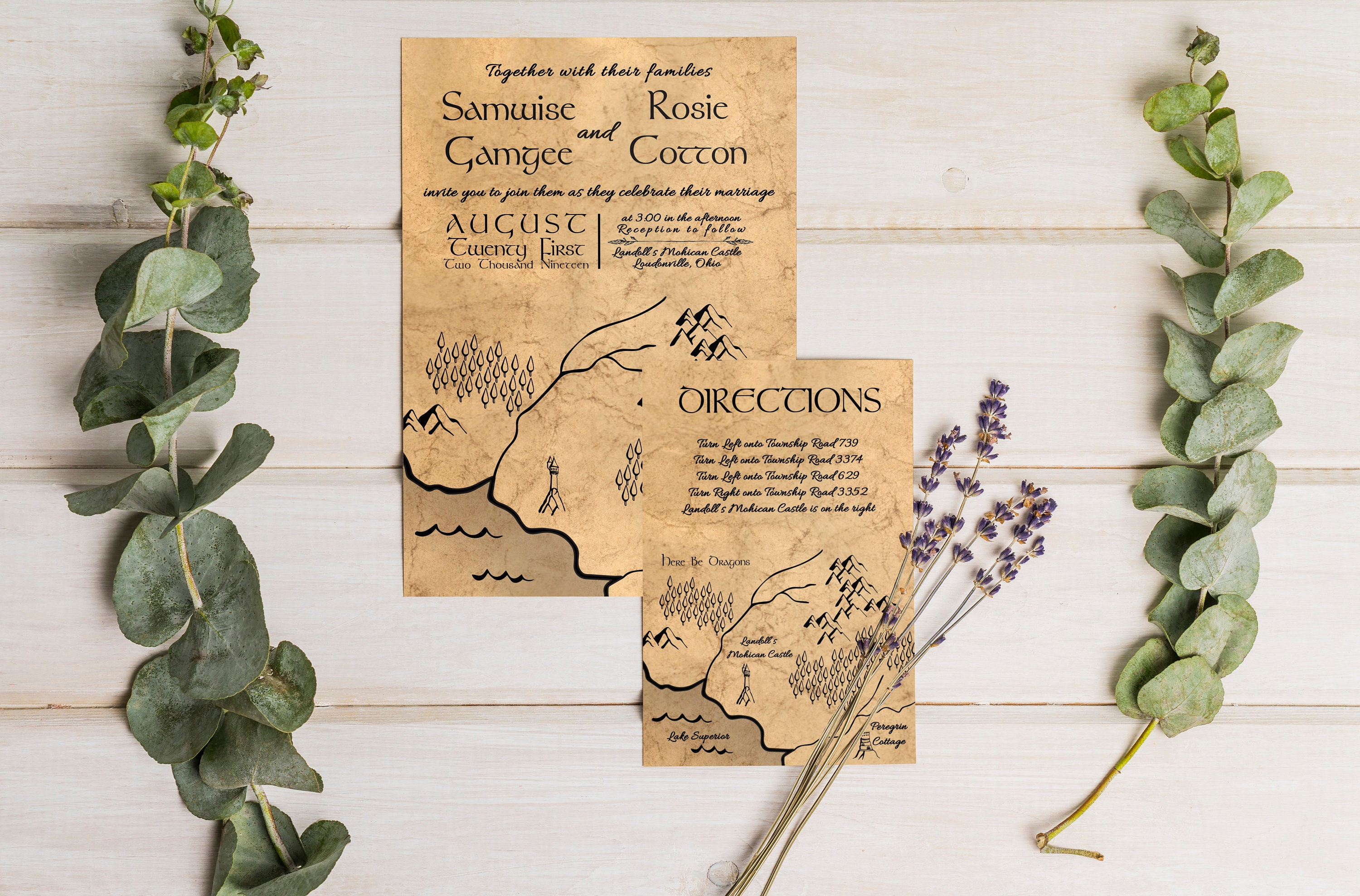 medieval love printed wedding invitation suite fast shipping