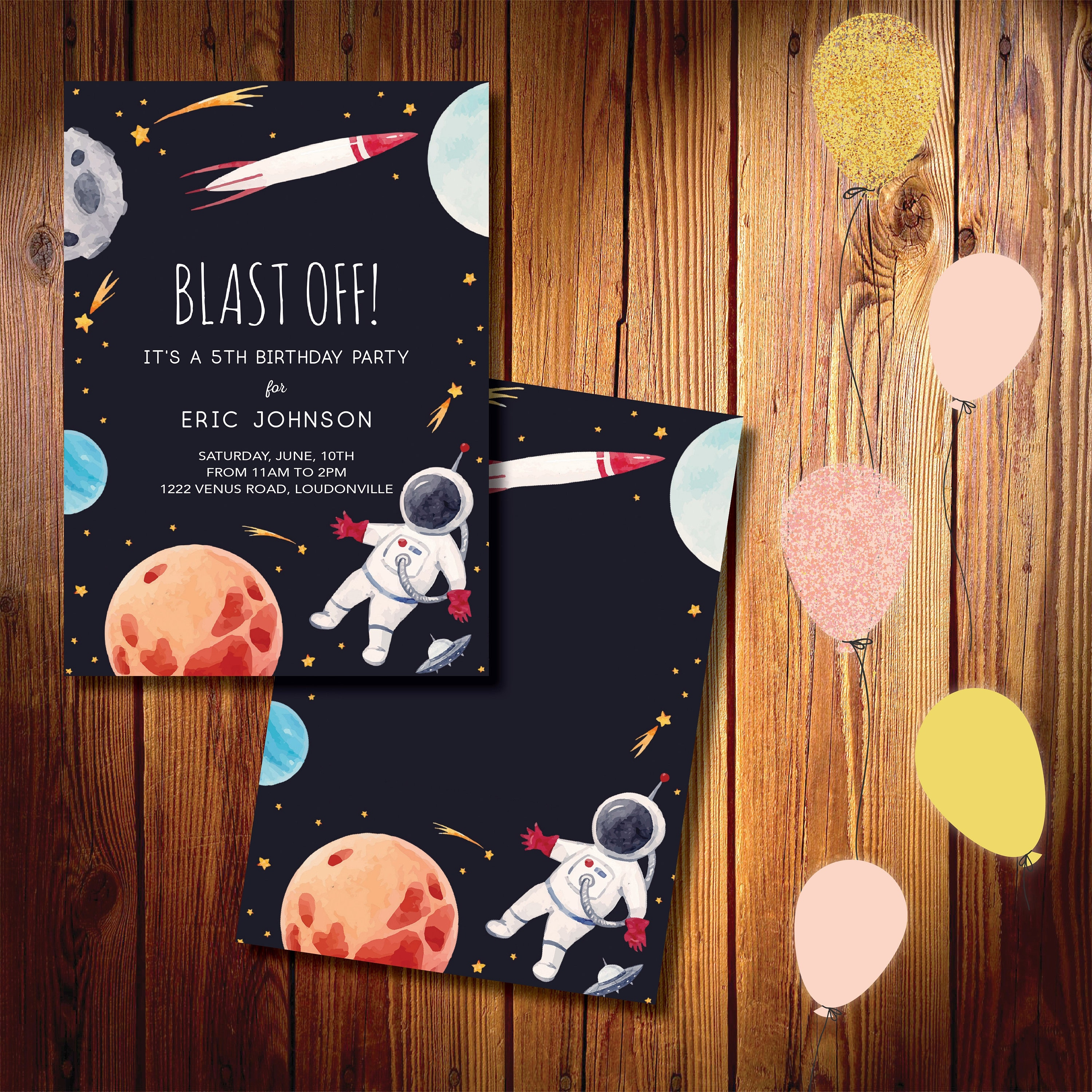 blast off printed birthday invitations fast shipping