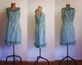 1960s blue, green, pink, yellow and white paisley ruffle mini shift dress