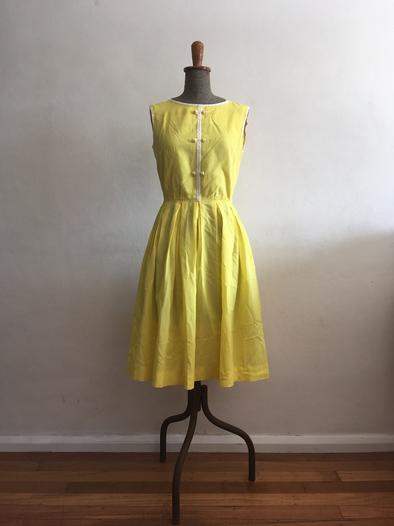bcc9b8557120 1960s R&K Originals Vibrant Yellow Day Dress With White Piping | Etsy