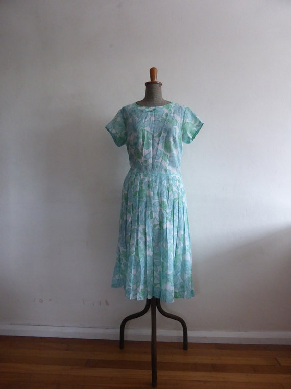 1950s blue and green floral day dress