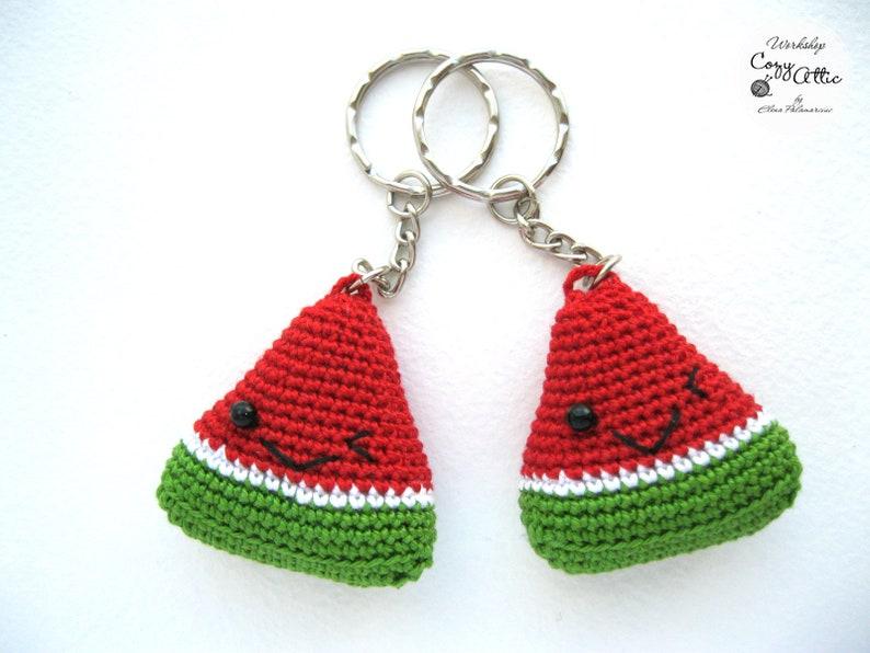 Watermelon Crochet keychain Handmade accessories Amigurumi keychain Summer accessory Crochet toys Watermelon keychain