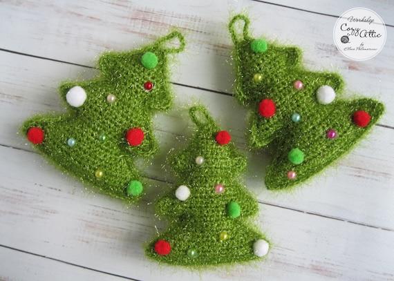 Christmas Tree Toys Handmade.Set Of 3 Christmas Tree Toys Crochet Decorations Cristmas Tree Decor Amigurumi Toys Crochet Handmade Decor Crochet Cristmas Trees Set Of 3