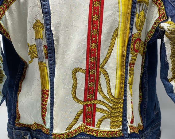 Embellished Denim Jacket, Upcycled Alcott and Andrews Silk Scarf, Rustic Hand Stitched One of a Kind Jean Jacket