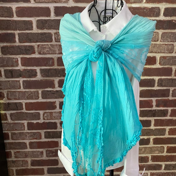 Vintage Turquoise Rustic Boho Scarf, Gauze and Lace Scarf