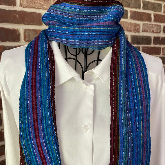 Vintage Turkish Weaved Cotton Scarf, Blue Stripped Scarf with Fringe, Oblong Silk Scarf, Unisex Scarf