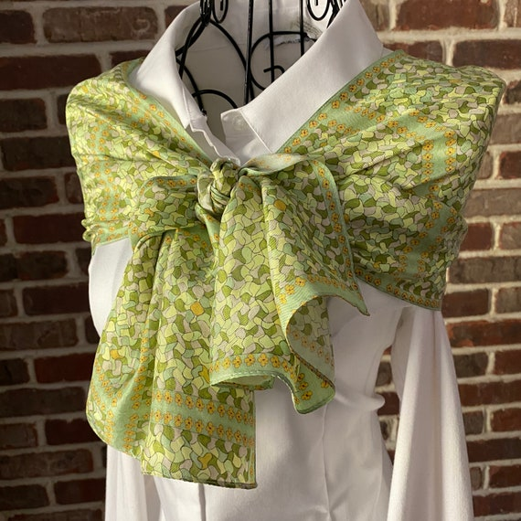 Chartreuse Puzzle Silk Scarf, Abstract Print Women's Oblong Silk Twill Scarf, Wearable Art Scarf