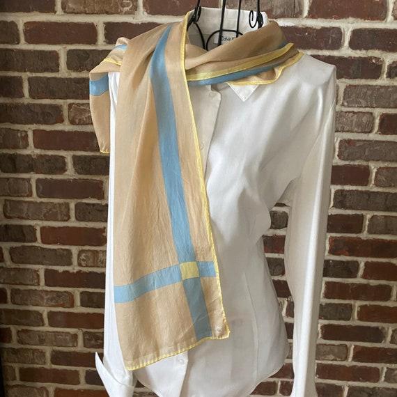 Vintage Silk Scarf Geometric Block Design, 70s Mod Scarf,  Beige, Blue and Yellow Silk Scarf, Oblong Silk Scarf