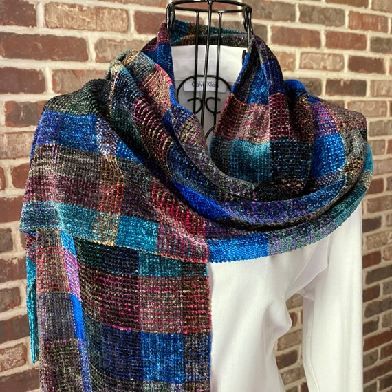 Vintage Plaid Chenille Scarf, Classic Celtic Scarf, Cobalt Blue, Black and Red Scarf