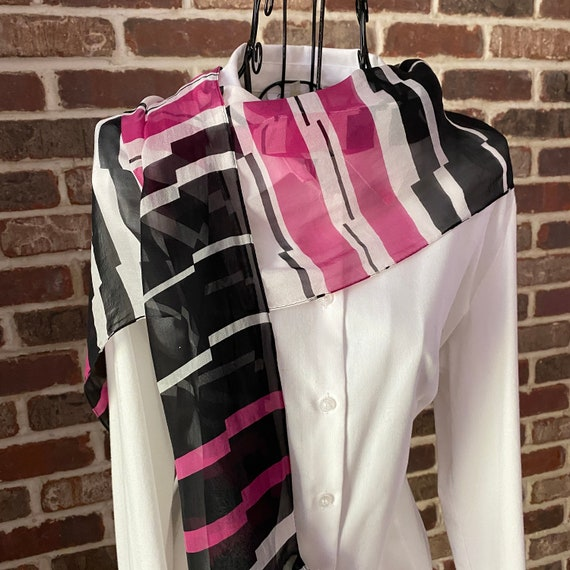 Vintage Anne Klein Silk Oblong Silk Scarf, Pink and Black Licorice Stripes