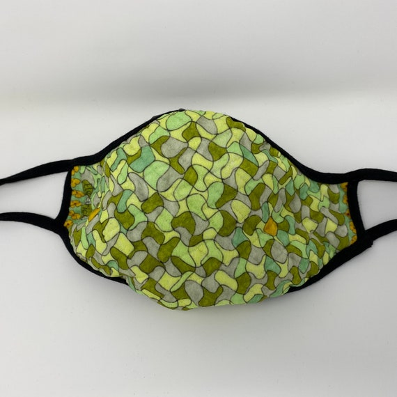 Face Mask, Quilted Fabric, Fashionable Chartreuse Puzzle Design, Washable Face Mask Accessory, Travel Mask