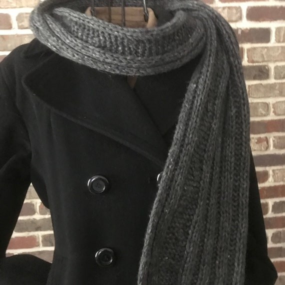 Vintage Gray Cable Wool Scarf, Pure Wool Extra Lon
