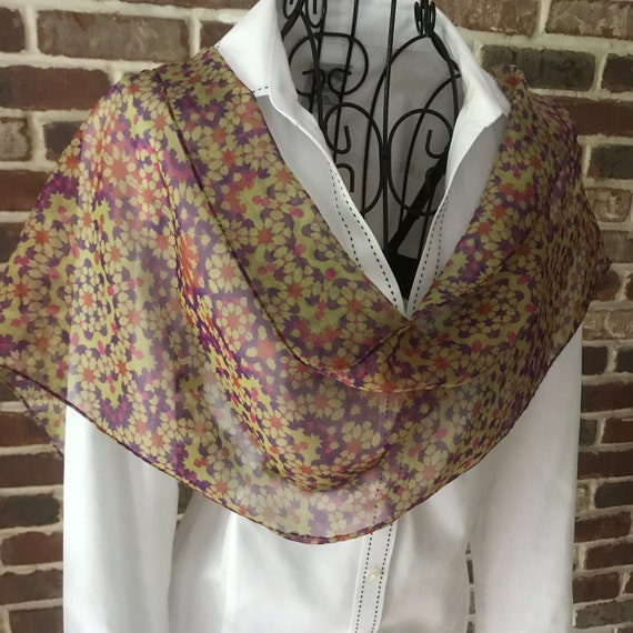 Mosaic Purple Scarf, Floral Print Scarf, Hand Colored Oblong Chiffon Scarf, Wearable Art Scarf