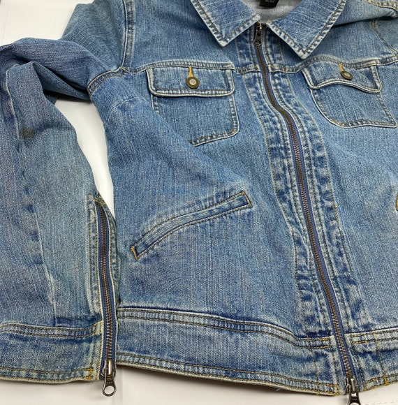 Customized Embellished Vintage Blue Jean Jacket, Upcycled Silk Scarf Choices and Trim, Hand Stitched One of a Kind Jean Jacket