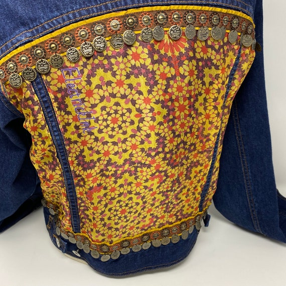 Gypsy Coin Fringe Trim Embellished Blue Jean Jacket, Upcycled Mosaic Scarf, Hand Stitched One of a Kind Jean Jacket