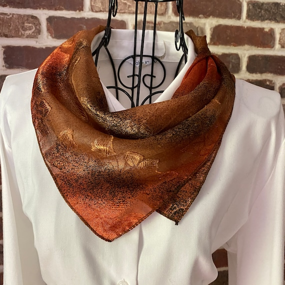 Vintage Burnout Scarf with Textured Autumn Leaves Square Scarf