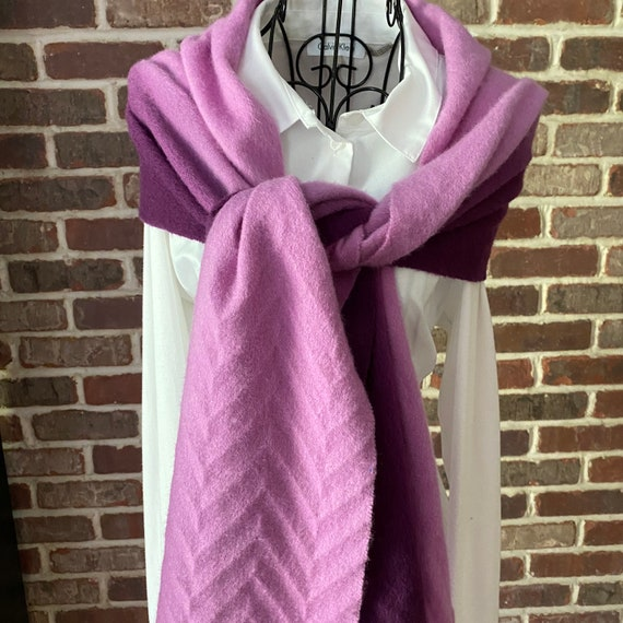 Vintage Pink Purple Ombre Cashmere Scarf, Embossed Chevron Scarf