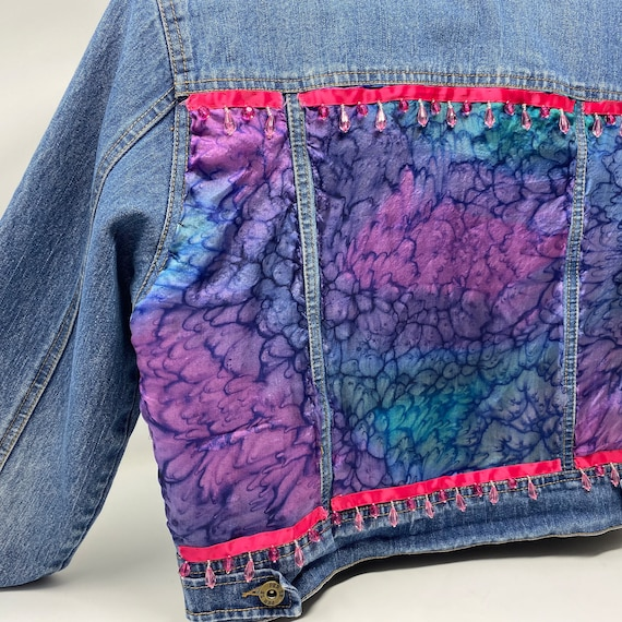 Embellished Denim Jacket, Upcycled Tie Dye Silk Scarf with Jewel Trim, Hand Stitched One of a Kind Jean Jacket