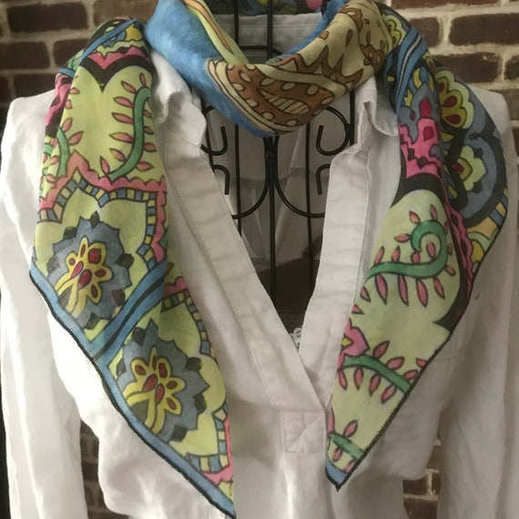 Lotus Flower Scarf, Soft Square Scarf for Women, Floral Print Design, Wearable Art Scarf