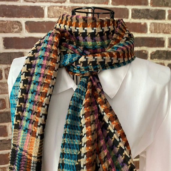 Vintage Multicolored Cotton Weaved Houndstooth Scarf