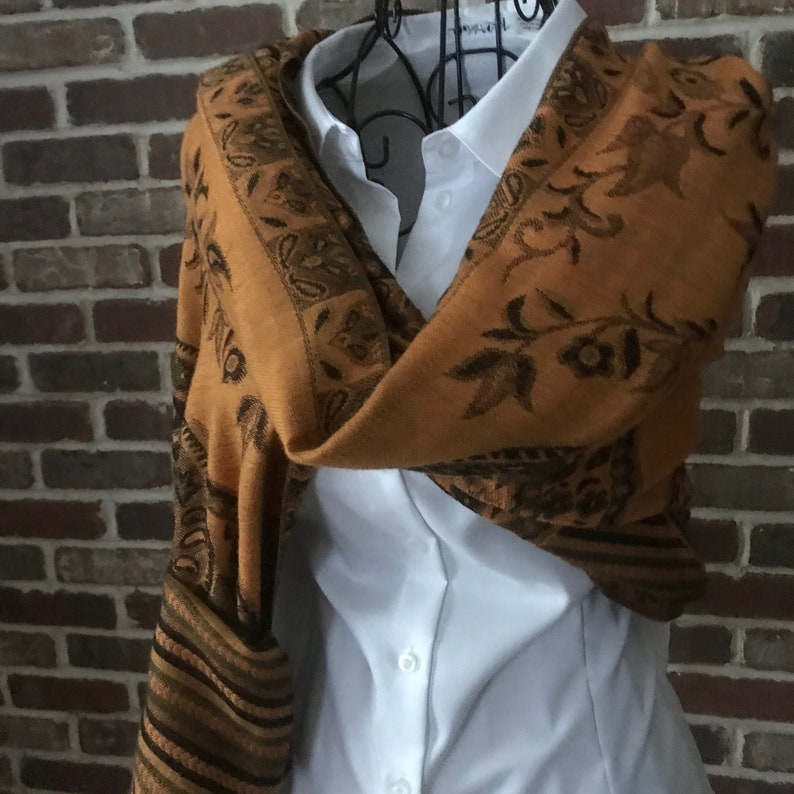 3c06c882d9e7 Vintage Pashmina Silk Scarf Paisley Espresso Brown and Gold | Etsy