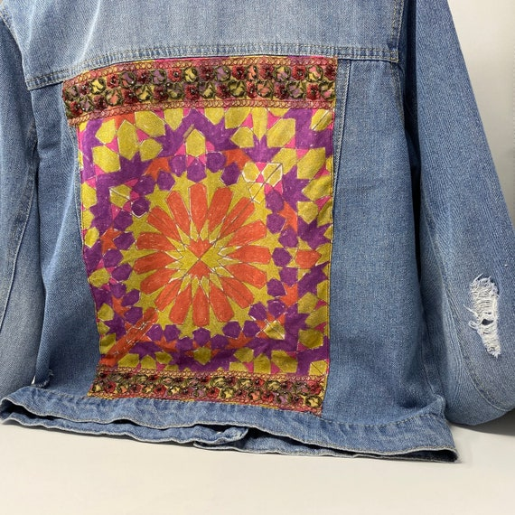 Embellished Distressed Denim Jacket, Upcycled Silk Scarf with Embroidered Trim, Hand Stitched One of a Kind Jean Jacket