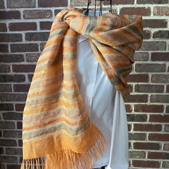 Vintage Open Weave Silk Shawl with fringe by Neeru Kumar, Stylish Structured Wrap
