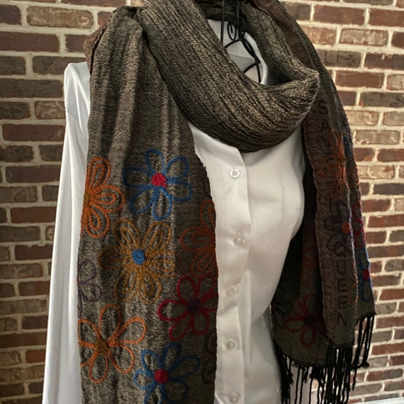 Vintage Boho Embroidered Floral Scarf, Gray Wool G