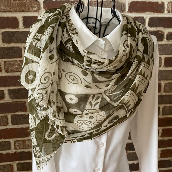 Vintage Animal Print, Steve Write Signature and Numbered Crinkle Scarf, Oblong Olive Green and Beige Scarf